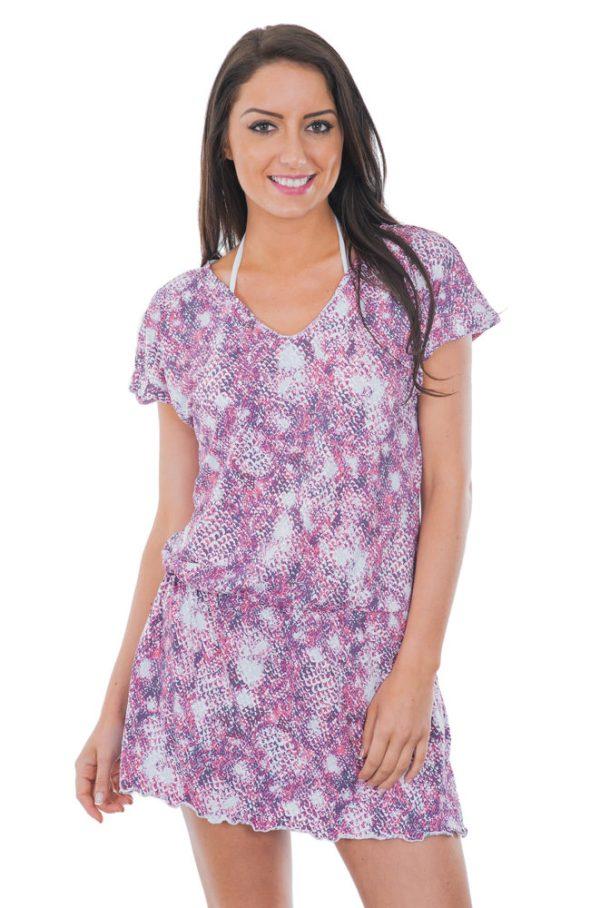 Fließ Strandkleid, rosa-violett - Pontalina
