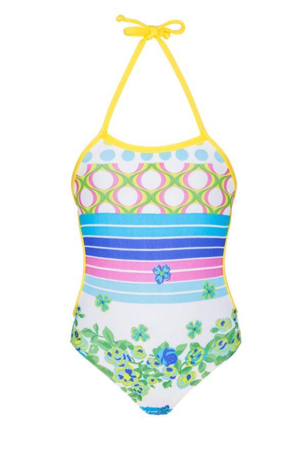 Baby Badeanzug Bunt mit Streifen und Blumen - Florzinha