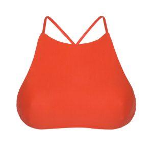 Sportliches rotes Bade Crop-Top mit gekreuzten Bändern - Rio de Sol