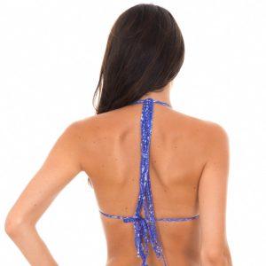 Triangle Bikini-Top, Jeansblau mit Langen Fransen - Rio de Sol