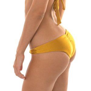 Sexy goldene verstellbare brasilianische Bikinihose mit Stoffringe - Rio de Sol