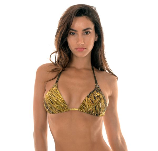 Goldengemustertes Bikini Triangel Oberteil mit Ringe - Soutien Cortininha Argola Reluzente