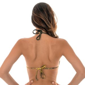 Goldengemustertes Bikini Triangel Oberteil mit Ringe