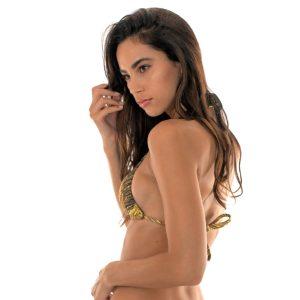 Goldengemustertes sexy Bikini Triangel Oberteil mit Ringe - Rio de Sol