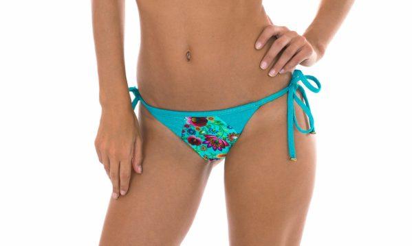 Azurblau geblümte Lurex-Bikinihose - Calcinha Bloom Recorte
