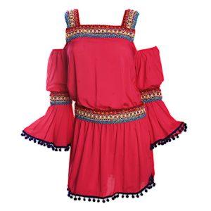 Rotes Strandkleid mit Makrameebesatz, Bohemestil - DESPI