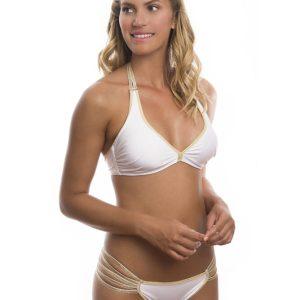 Damen Bikini. Weiß goldener Bikini im BH-Stil, Multischnüre - Goldie White