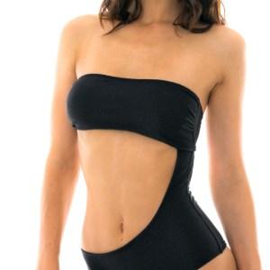 Schwarzer zweiteiliger Bandeau Badeanzug - Body All Black