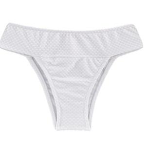 Weiße texturierte Bikinihose, mit breitem Bund