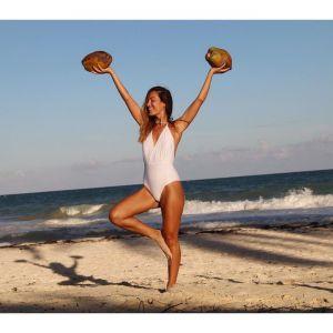 Brasilianischer Sexy Badeanzug, Wickeloptik, weiß, texturiert
