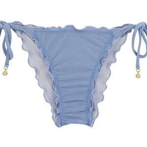 Denimblaue Scrunch-Bikinihose mit Accessoire - Bottom Garoa Frufru