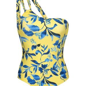 Gelber asymetrischer Badeanzug mit Musterung - Lemon Flower One Shoulder