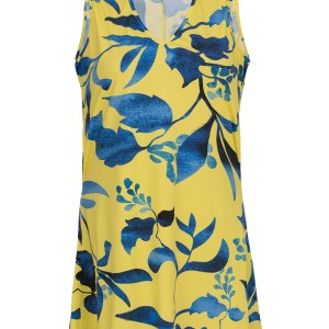 Gelb, blaues Strandkleid - Dress Lemon Flower