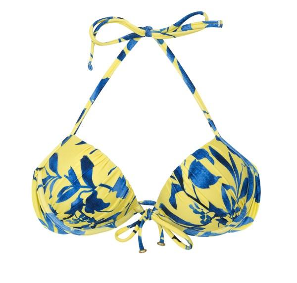 Balconette Push Up gelb, blau - Top Lemon Flower Comfort