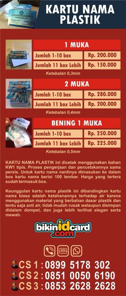daftar harga kartu nama plastik
