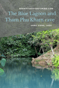 The Blue Lagoon and Tham Phu Kham cave in Vang Vieng, Laos.