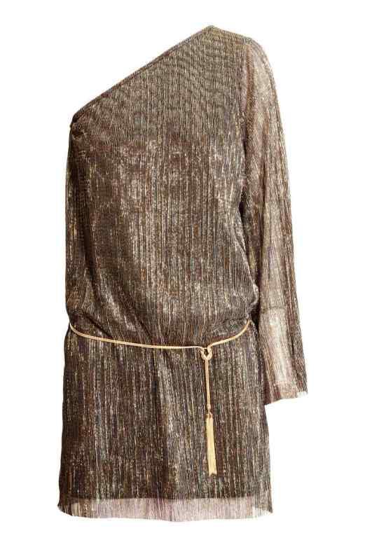 H&M Glitter One Shoulder Dress