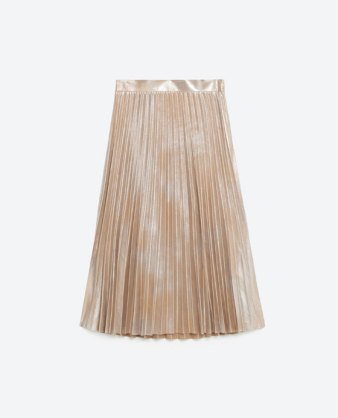 zara metallic fine pleated skirt