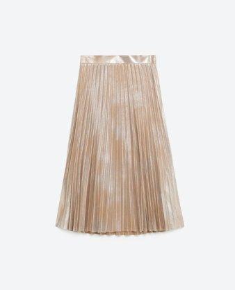 zara metallic fine pleated skirt