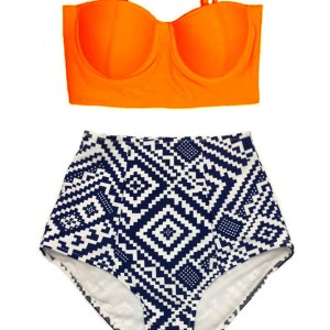 49d34c5d41 Orange Underwire wire Top and Graphic Print High waisted waist rise  Highwaisted Highwaist Slimming Pin up Handmade Two piece Bikini set Swimsuit  Swimwear ...