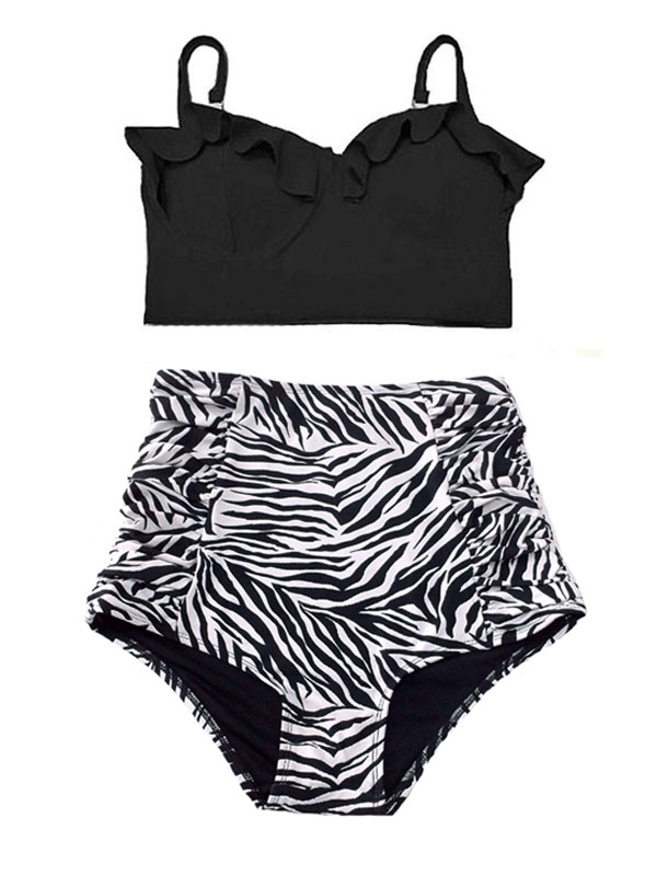 6d2ea4b11f Swimsuit Bikini Top Midkini Black High waisted Bottom Shorts Ruched Zebra  White Black