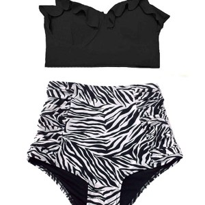 235ea387e44cd Black Block Midkini Top and Zebra Animal print High Waisted Waist HW  Vintage Swimsuit Bikini set Two piece Swimwear Bathing Swim wear suit suits  S M L