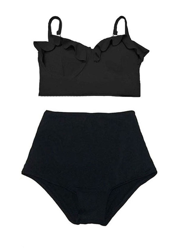 e49df9f1c4 Swimsuit Bikini Top Midkini Black High waisted Bottom Shorts Black