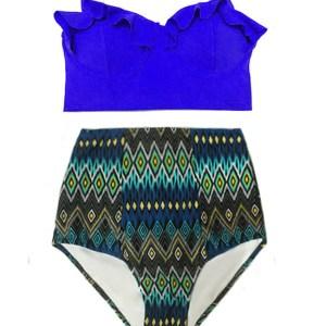 6391fbb281 Blue Midkini Top and Tribute Tribal Highwaisted High Waisted Waist High- Waist Pin up Slimming Retro Handmade Swimsuit Swimwear Swim Bikini set  Bathingsuit ...