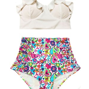 c3216844c0222 White Midkini Top and Colorful Graphic Print Ruched High waisted waist Pin  up Bottom Handmade Retro Swimsuit Swimsuits Swimwear Two piece Two-piece  Bikini ...