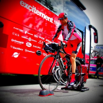 BMC rider Johann Tschopp warming up before final time trial at 2012 Tour de Romandie.