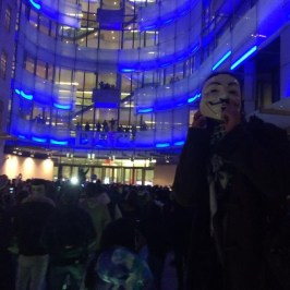 @sara_firth Some of the #MillionMaskMarch protestors have now gathered outside the front of the #BBC Police moving them on