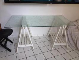 IKEA Tisch Glasplatte und Böcke in Berlin   Speisezimmer ...