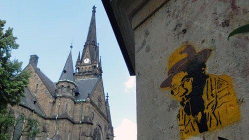 Graffito am Martin-Luther-Platz