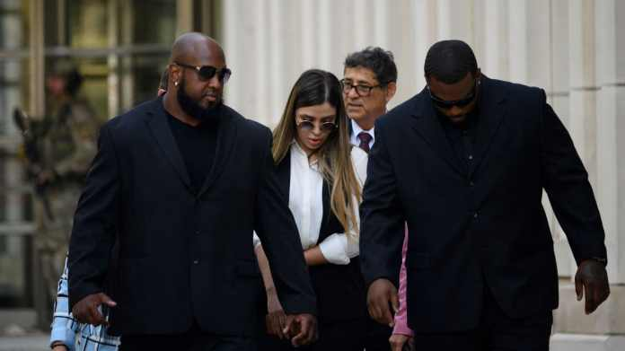 Emma Coronel Aispuro on her way to trial against her husband in 2019.  She kissed him in the courtroom