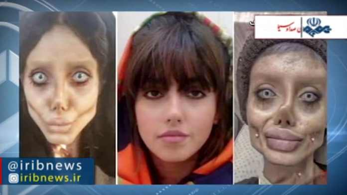Sahar Tabar (center), putting on makeup, and used Photoshop for the fun of it