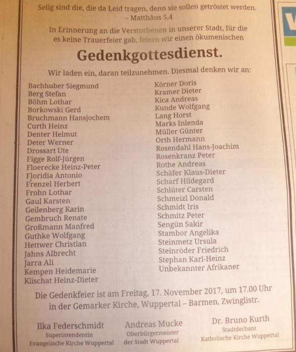 Stadt Wuppertal veranstaltet  Gedenkgottesdienst