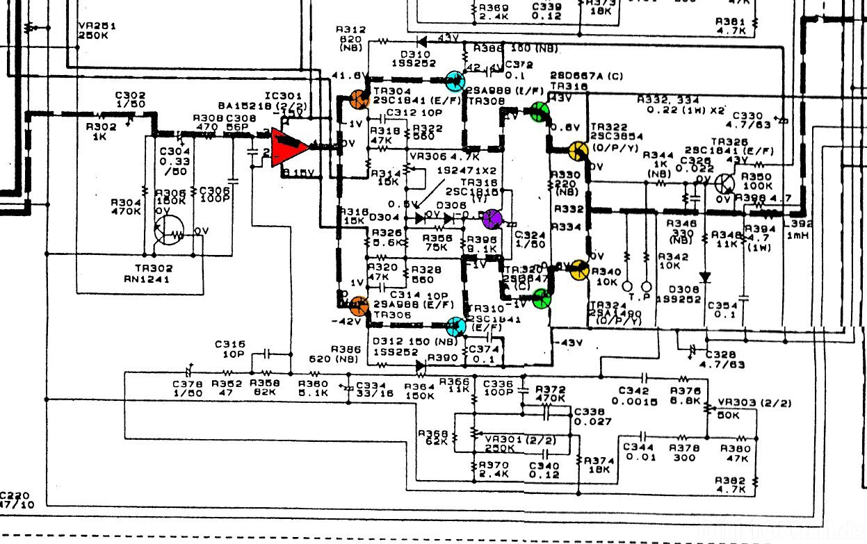 Denon Dra 365rd Schematic Detail Power Amp Colored