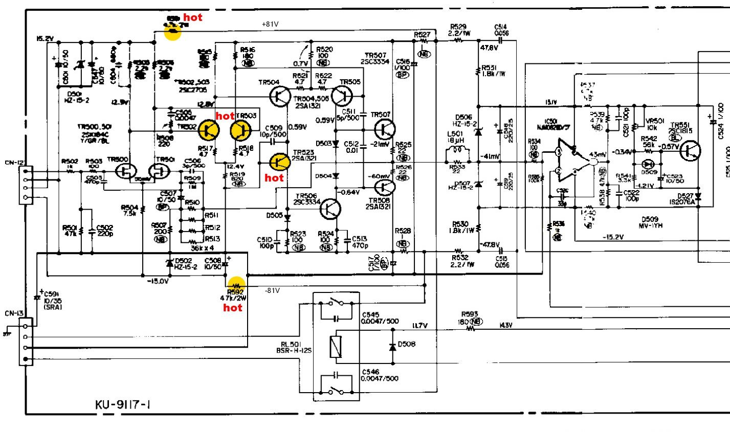 Denon Poa Schematic Detail Power Amp Hot Transistors
