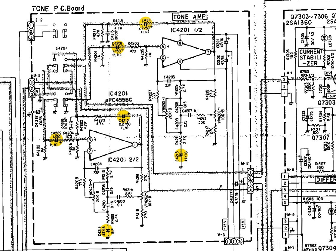 Luxman Lv 105 Schematic Detail Tone Amp Capacitors Marked