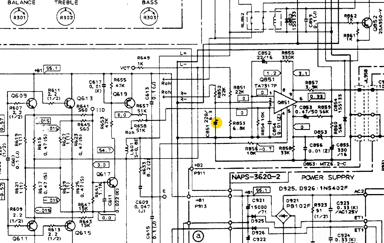 Onkyo A Schematic Detail Protection Circuit Defective