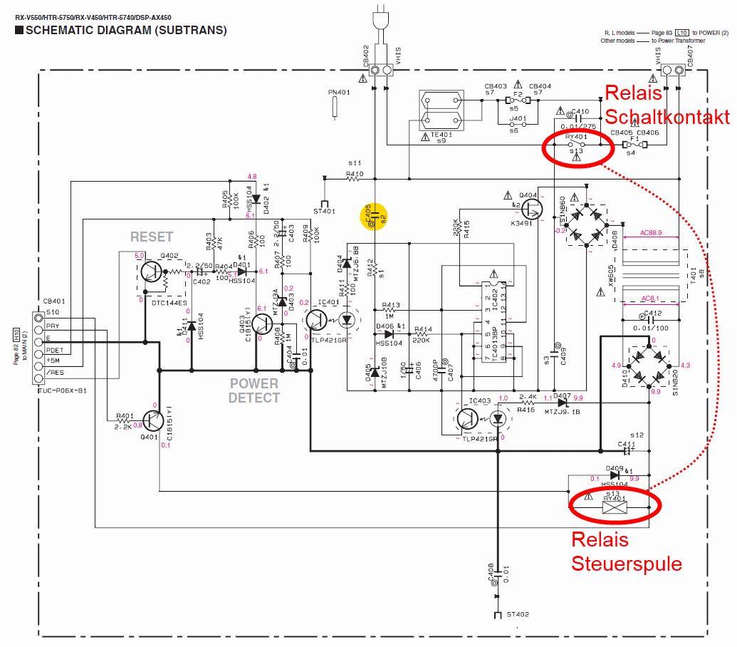 Yamaha Rx V450 Schematic Detail Standby Pcb Relay Relais
