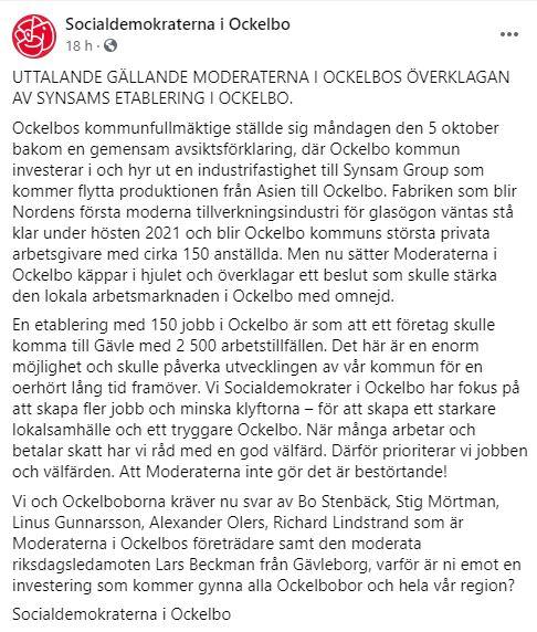 Socialdemokraterna gick på fredagen ut med ett facebookinlägg, där de riktade kritik mot att Moderaterna överklagat beslutet. Foto: Skärmdump.