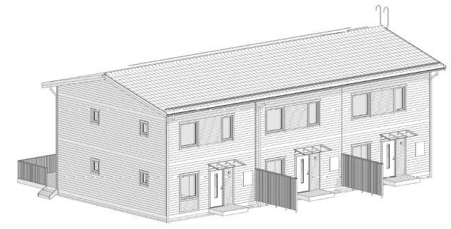 Skiss från Peabs bygglovsansökan. Radhusen beskrivs som mindre, lämpliga för hushåll med tre personer.