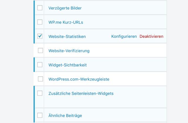 Screenshot mit einem Ausschnitt der Einzelmodulliste des Jetpack Plugins.