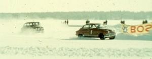 Lennart Strandberg i Saab Sport leder Gävles deltävling i distriktsmästerskapet på isbana