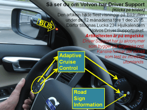 Driver Support Controls and Indicators in front of driver of a Volvo XC60 MY2015