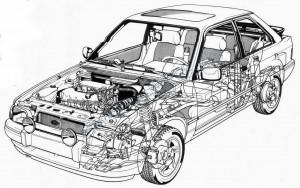 En moderne opbygning med tværstillet frontmotor og forhjulstræk, men ikke fokus på rustbeskyttelsen fra fabrikken.