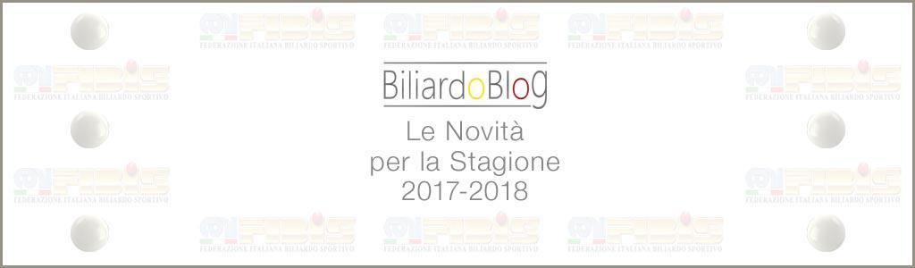 Novità del Campionato BTP di Biliardo 2017 2018