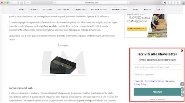 Risparmiare su acquisto accessori da Biliardo: Form Blog