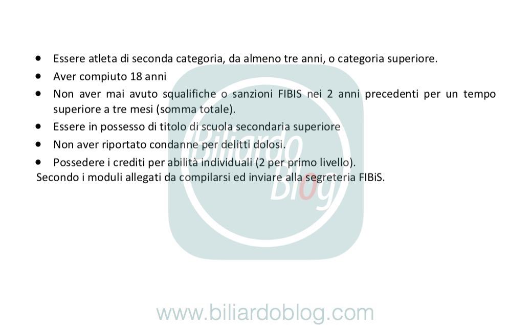 I Requisiti del nuovo Corso Istruttore di Biliardo